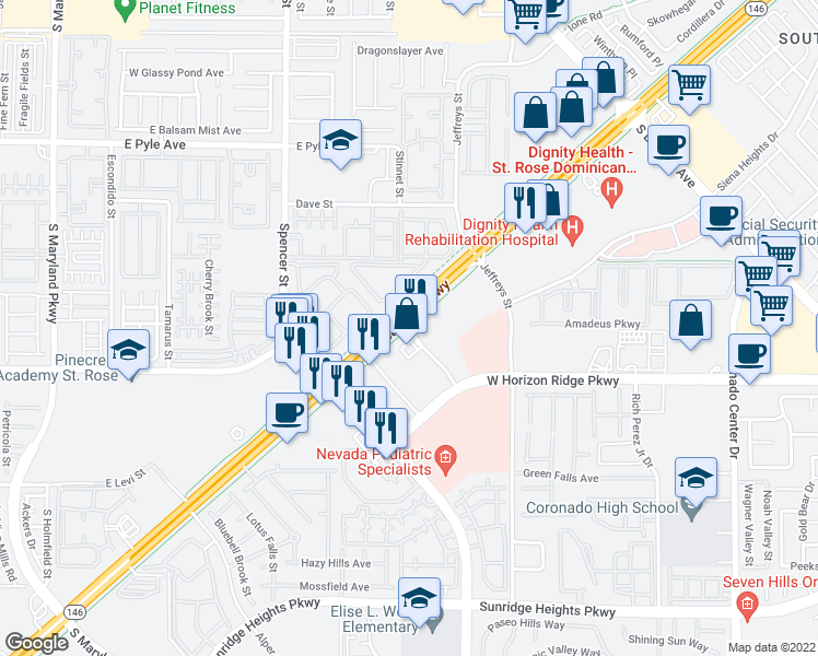 map of restaurants, bars, coffee shops, grocery stores, and more near 3080 Saint Rose Parkway in Las Vegas