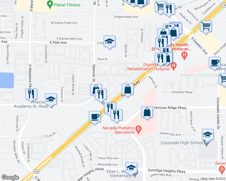 map of restaurants, bars, coffee shops, grocery stores, and more near 3140 Saint Rose Parkway in Las Vegas