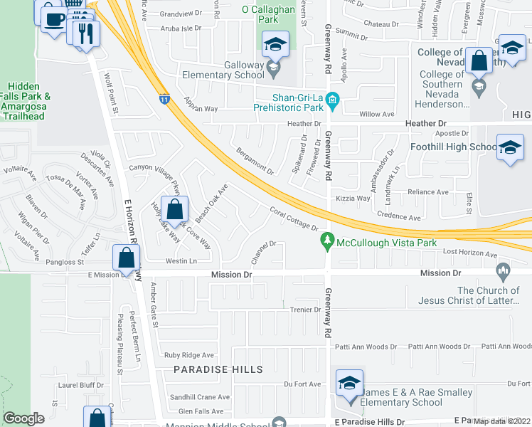 map of restaurants, bars, coffee shops, grocery stores, and more near 186 Laguna Landing Drive in Henderson