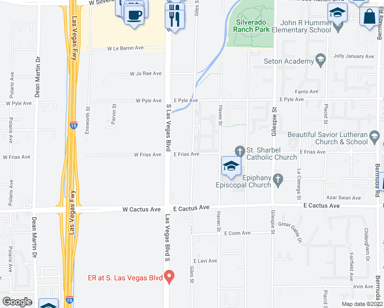 map of restaurants, bars, coffee shops, grocery stores, and more near 46-98 East Frias Avenue in Las Vegas