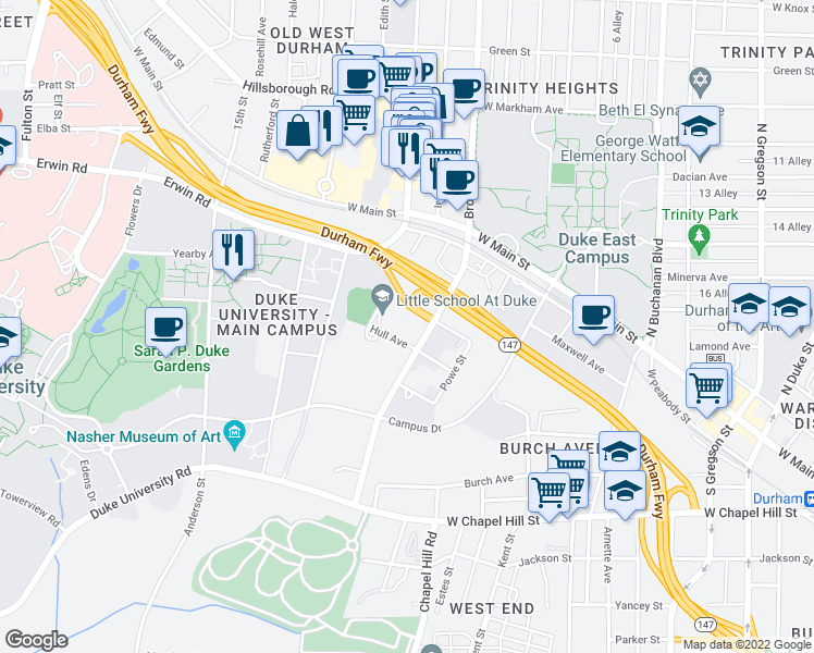 map of restaurants, bars, coffee shops, grocery stores, and more near 300 Swift Avenue in Durham