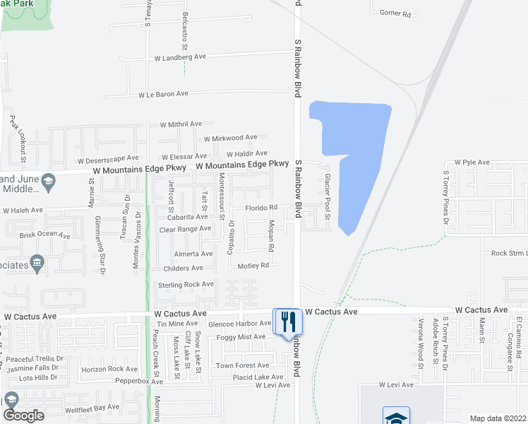 map of restaurants, bars, coffee shops, grocery stores, and more near 6977 Florido Road in Las Vegas
