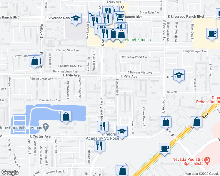 map of restaurants, bars, coffee shops, grocery stores, and more near 10192 South Maryland Parkway in Las Vegas