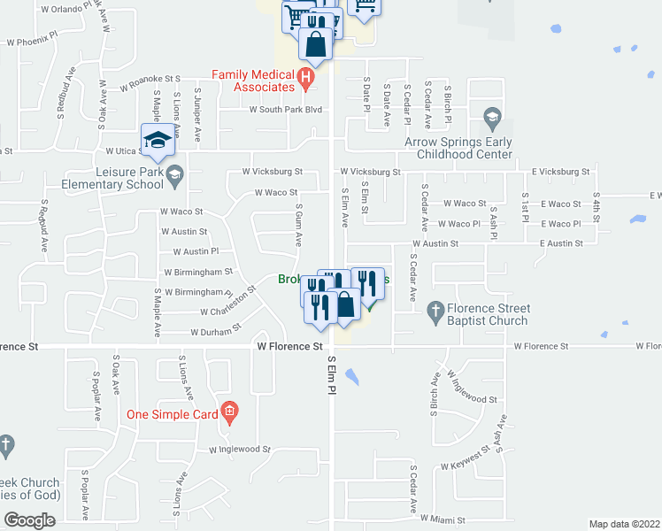 map of restaurants, bars, coffee shops, grocery stores, and more near 4550-4598 South Elm Place in Broken Arrow