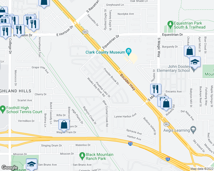 map of restaurants, bars, coffee shops, grocery stores, and more near 1004 Roaring River Avenue in Henderson