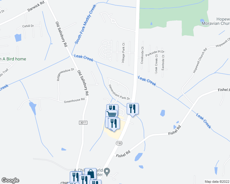 map of restaurants, bars, coffee shops, grocery stores, and more near 1645 Haversham Park Drive in Winston-Salem