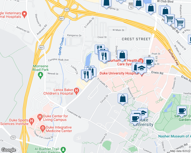 map of restaurants, bars, coffee shops, grocery stores, and more near Erwin Road & South LaSalle Street in Durham