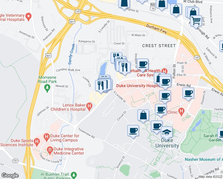 map of restaurants, bars, coffee shops, grocery stores, and more near Erwin Rd & S LaSalle St in Durham