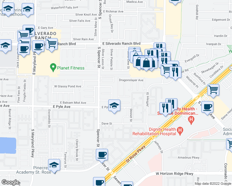 map of restaurants, bars, coffee shops, grocery stores, and more near 10011 Perceval Street in Las Vegas