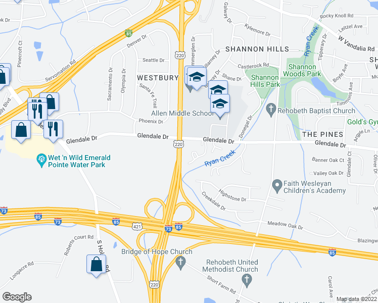 map of restaurants, bars, coffee shops, grocery stores, and more near 1145 Glendale Drive in Greensboro