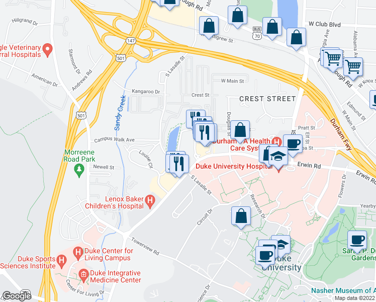 map of restaurants, bars, coffee shops, grocery stores, and more near 2616 Erwin Road in Durham