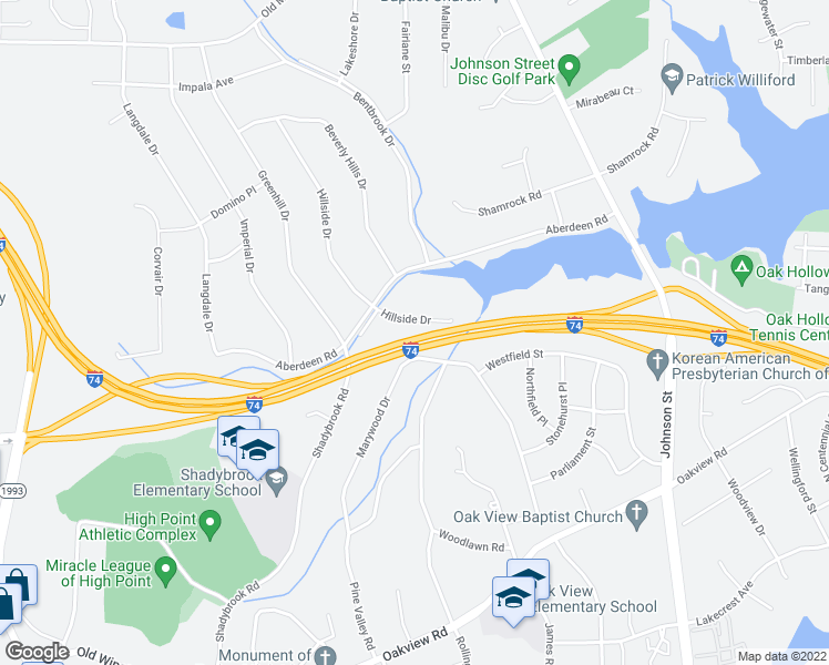 map of restaurants, bars, coffee shops, grocery stores, and more near 3311 Hillside Drive in High Point
