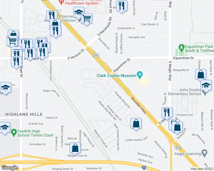 map of restaurants, bars, coffee shops, grocery stores, and more near 993 Equestrian Drive in Henderson