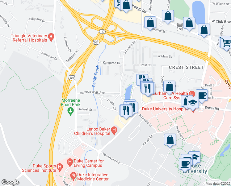 map of restaurants, bars, coffee shops, grocery stores, and more near 2720 Brown Avenue in Durham