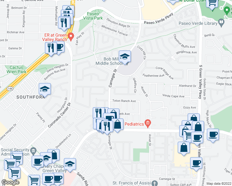 map of restaurants, bars, coffee shops, grocery stores, and more near 461 Beardsley Cir in Henderson