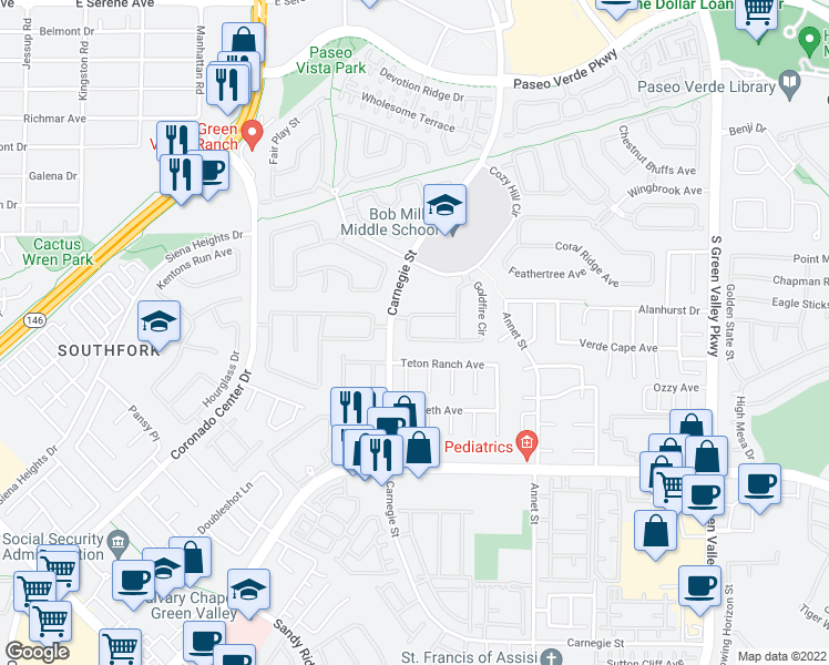 map of restaurants, bars, coffee shops, grocery stores, and more near 461 Beardsley Circle in Henderson