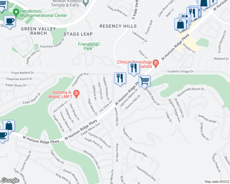 map of restaurants, bars, coffee shops, grocery stores, and more near 2005 Joy View Lane in Henderson