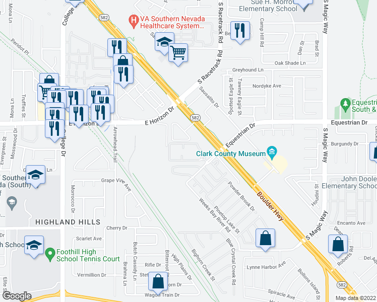 map of restaurants, bars, coffee shops, grocery stores, and more near 990 Equestrian Drive in Henderson