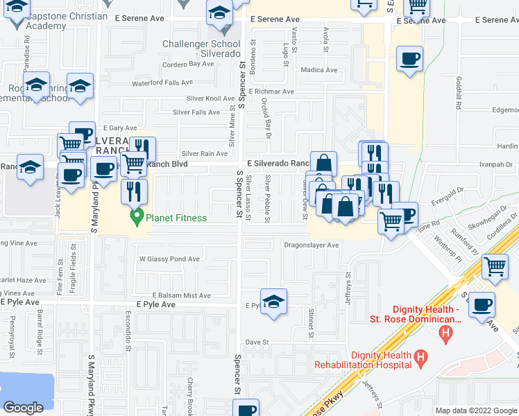 map of restaurants, bars, coffee shops, grocery stores, and more near 1866 Silver Cactus Street in Las Vegas