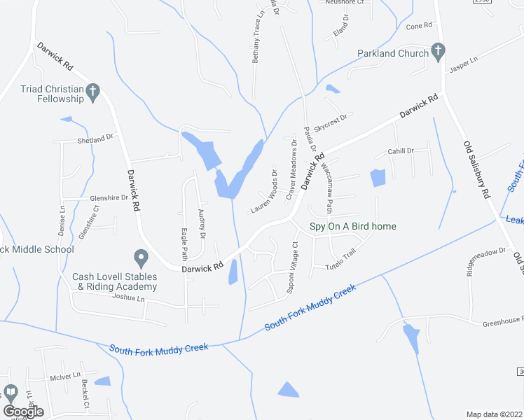 map of restaurants, bars, coffee shops, grocery stores, and more near 2140 Lauren Woods Drive in Winston-Salem