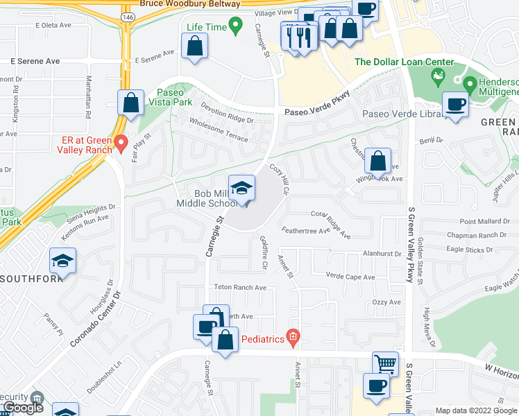map of restaurants, bars, coffee shops, grocery stores, and more near 2400 Cozy Hill Cir in Henderson