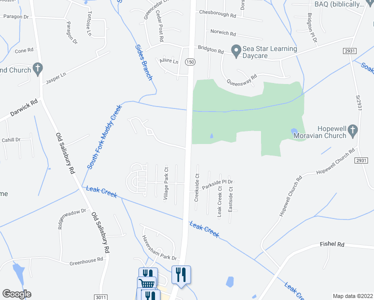 map of restaurants, bars, coffee shops, grocery stores, and more near 3802 Salisbury Road in Winston-Salem