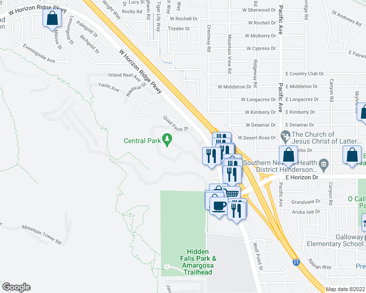 map of restaurants, bars, coffee shops, grocery stores, and more near 231 West Horizon Ridge Parkway in Henderson