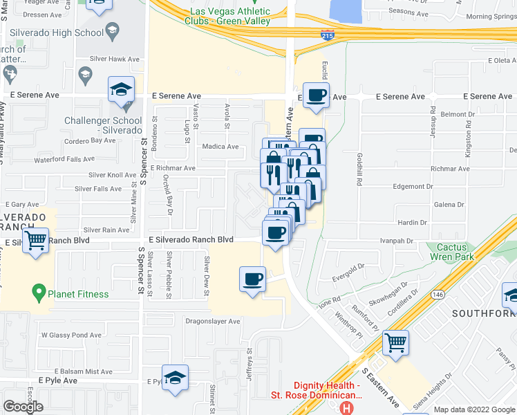 map of restaurants, bars, coffee shops, grocery stores, and more near 2300 East Silverado Ranch Boulevard in Las Vegas