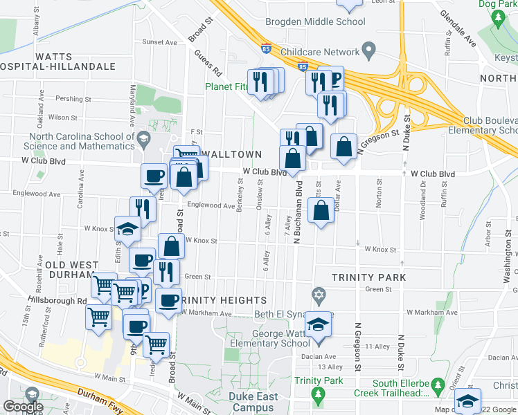 map of restaurants, bars, coffee shops, grocery stores, and more near Englewood Ave & Onslow St in Durham