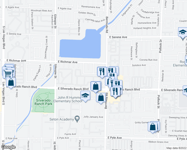 map of restaurants, bars, coffee shops, grocery stores, and more near 353 Silverado Pines Avenue in Las Vegas
