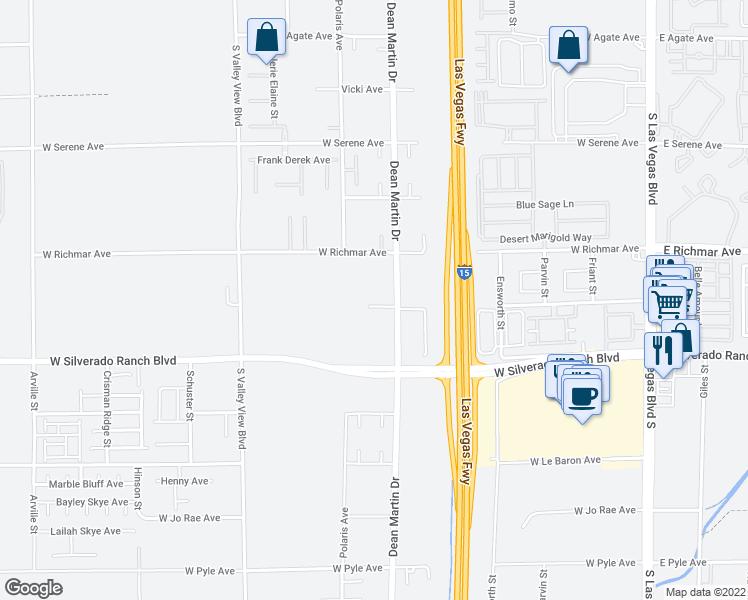 map of restaurants, bars, coffee shops, grocery stores, and more near 3280 West Gary Avenue in Las Vegas