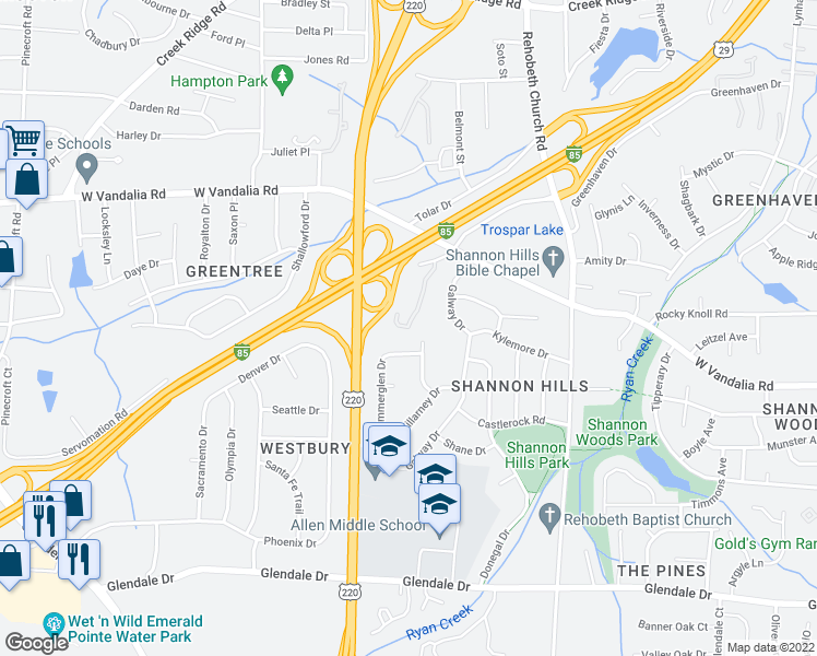 map of restaurants, bars, coffee shops, grocery stores, and more near 4100 Summerglen Drive in Greensboro