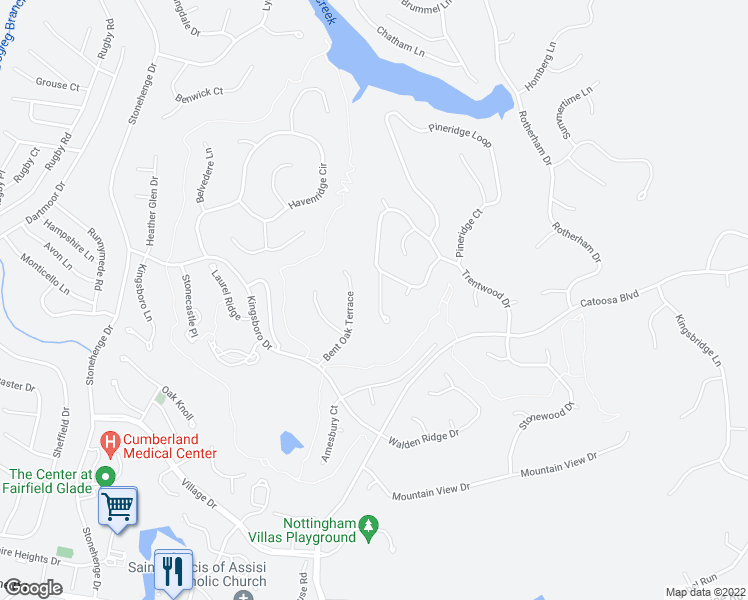 map of restaurants, bars, coffee shops, grocery stores, and more near 16 Oakcrest Circle in Crossville