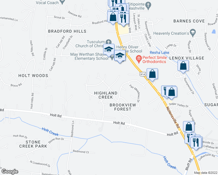 map of restaurants, bars, coffee shops, grocery stores, and more near Hickory Run in Nashville