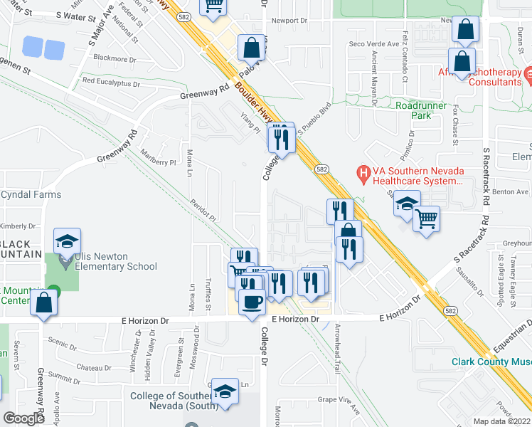 map of restaurants, bars, coffee shops, grocery stores, and more near 510 College Drive in Henderson
