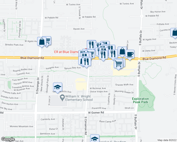 map of restaurants, bars, coffee shops, grocery stores, and more near 9350 South Cimarron Road in Las Vegas