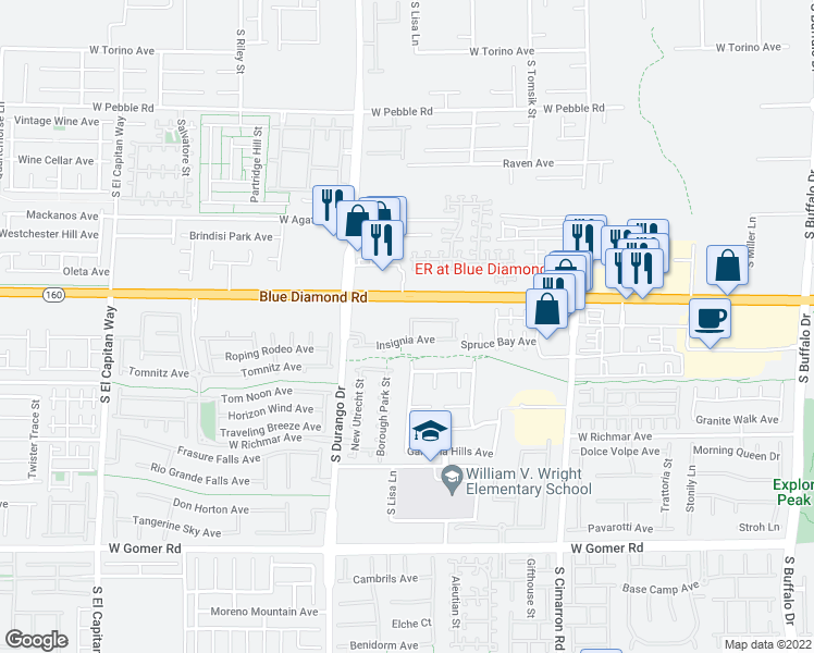 map of restaurants, bars, coffee shops, grocery stores, and more near 8491 Classique Avenue in Las Vegas