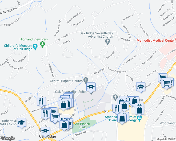 map of restaurants, bars, coffee shops, grocery stores, and more near 120-130 Hillside Road in Oak Ridge