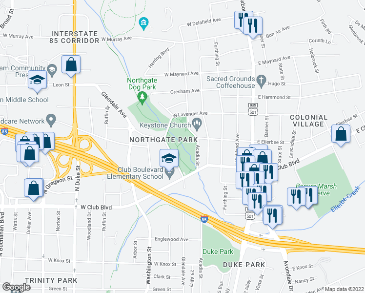 map of restaurants, bars, coffee shops, grocery stores, and more near 300 West Club Boulevard in Durham