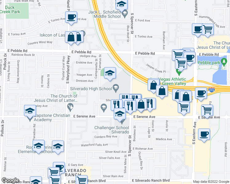 map of restaurants, bars, coffee shops, grocery stores, and more near 1650 Silver Hawk Avenue in Las Vegas