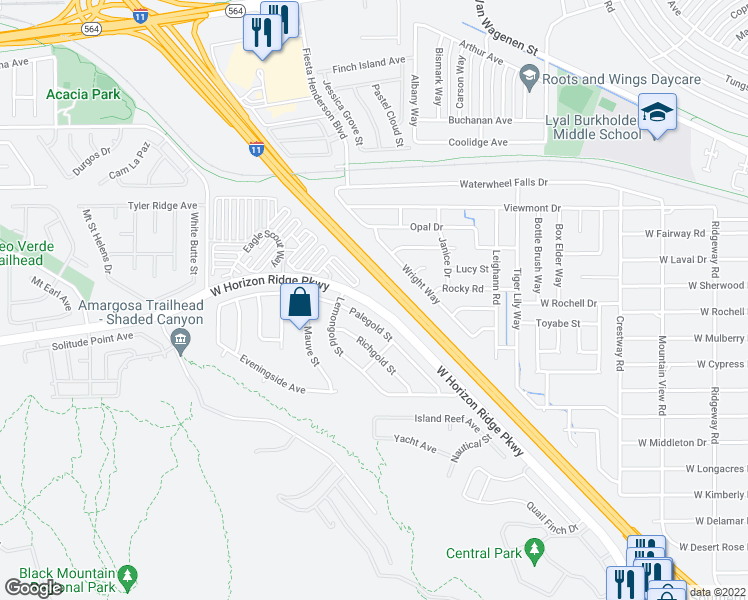map of restaurants, bars, coffee shops, grocery stores, and more near 430-572 West Horizon Ridge Parkway in Henderson