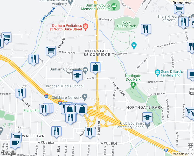 map of restaurants, bars, coffee shops, grocery stores, and more near North Duke Street & Leon Street in Durham