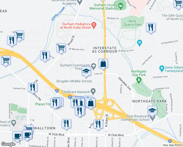 map of restaurants, bars, coffee shops, grocery stores, and more near 921-999 Leon Street in Durham