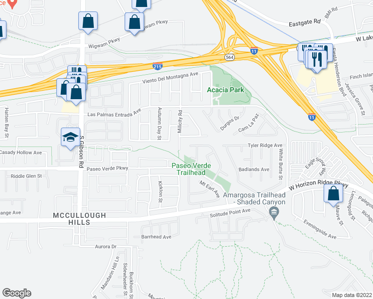 map of restaurants, bars, coffee shops, grocery stores, and more near 634 Pacific Cascades Drive in Henderson