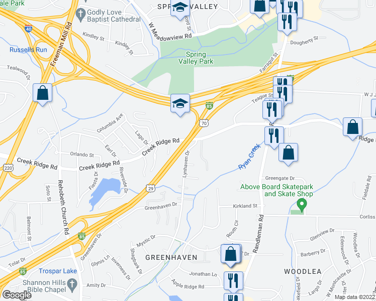 map of restaurants, bars, coffee shops, grocery stores, and more near Interstate 85 Business in Greensboro