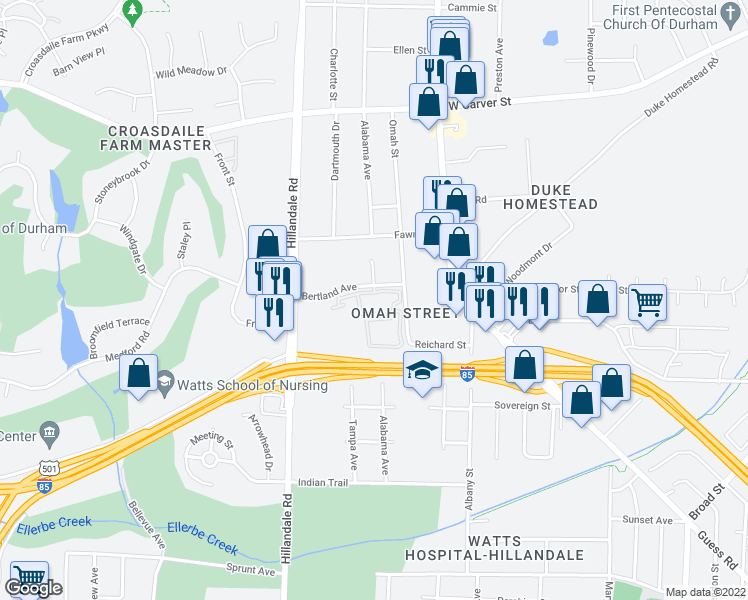 map of restaurants, bars, coffee shops, grocery stores, and more near 2901 Bertland Avenue in Durham
