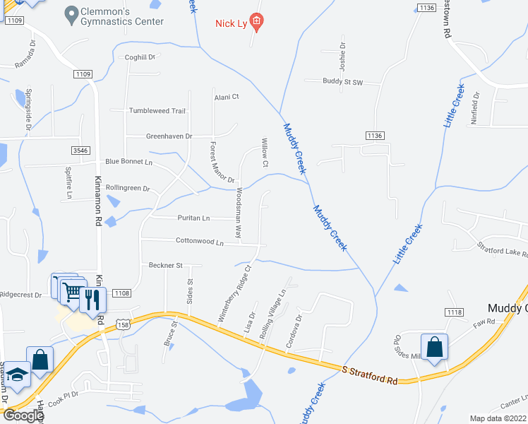 map of restaurants, bars, coffee shops, grocery stores, and more near 4421 Winterberry Ridge Court in Winston-Salem
