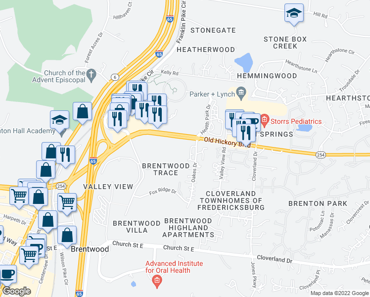 map of restaurants, bars, coffee shops, grocery stores, and more near 5808 Brentwood Trace in Brentwood