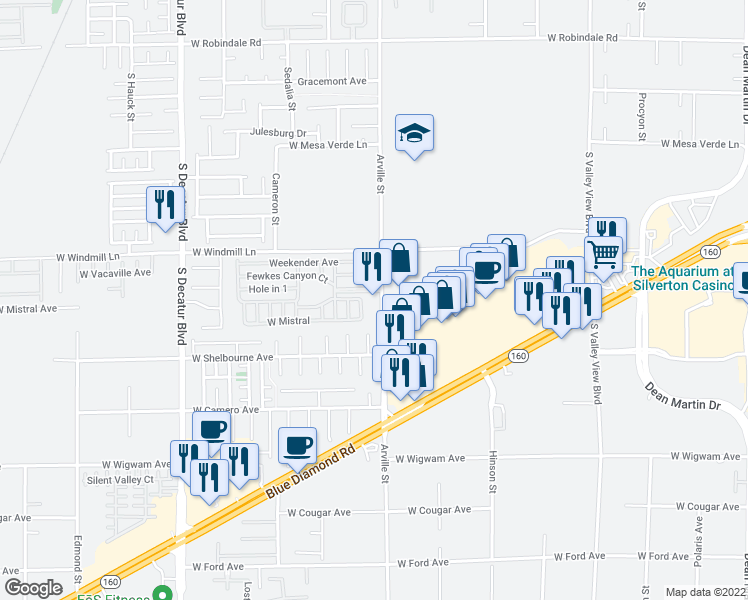 map of restaurants, bars, coffee shops, grocery stores, and more near 8175 Arville Street in Las Vegas