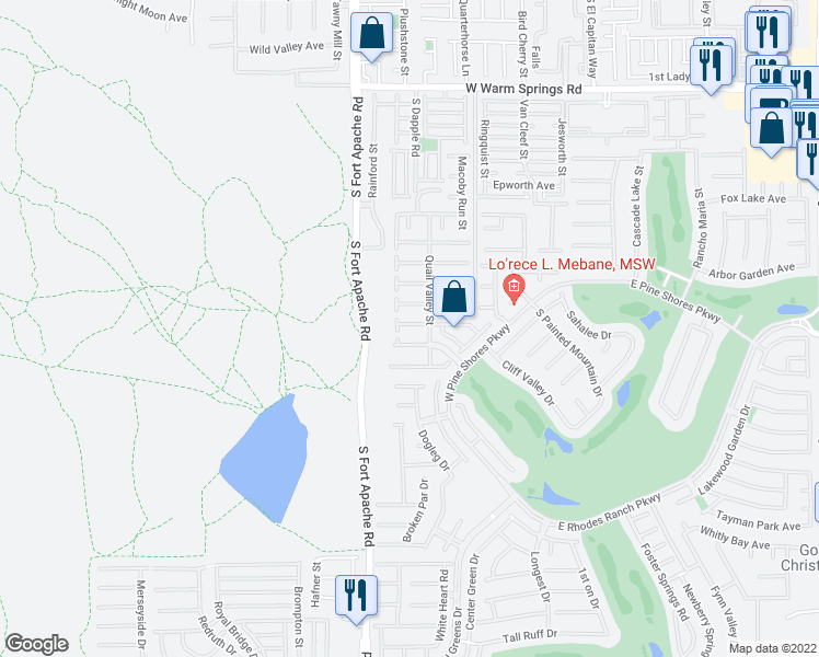 map of restaurants, bars, coffee shops, grocery stores, and more near 267 Crooked Tree Dr in Las Vegas
